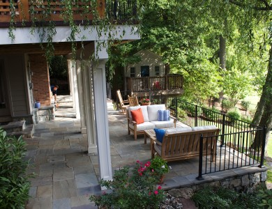 Flagstone patio and building stone walls in North Arlington.