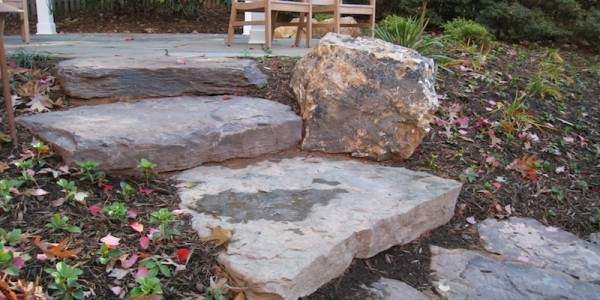 Fieldstone steps with boulders in North Arlington.