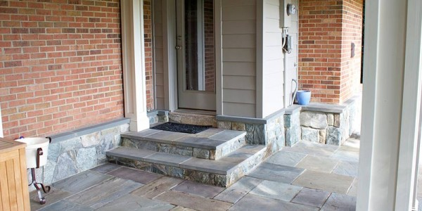 Flagstone steps with building stone risers and water table in North Arlington.