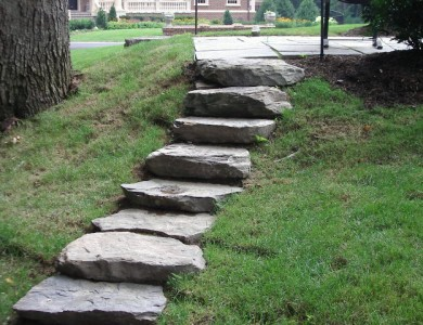 Fieldstone steppers set in grass in McLean.