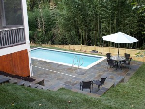 New lawn space on far side of pool
