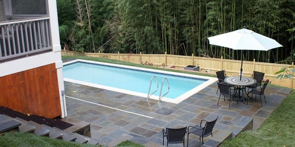 Flagstone pool deck with steps in North Arlington.