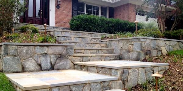 Flagstone steps, landings, and walls in North Arlington.