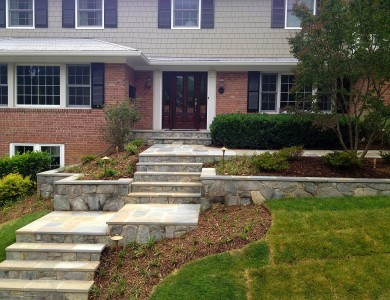 Flagstone steps, landings, and walls in North Arlington.