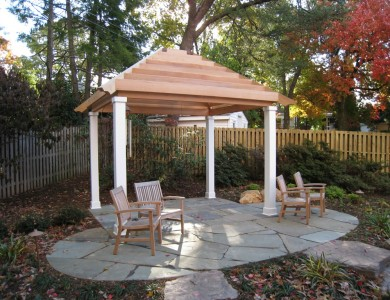 Cedar pergola and flagstone patio in North Arlington.