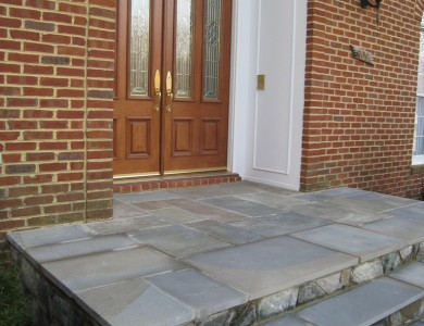 Flagstone steps with building stone risers in Great Falls.