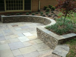 PA stone seating wall with flagstone cap
