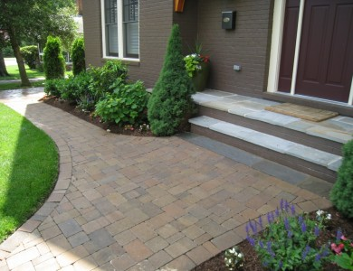 Paver walkway and flagstone landing.
