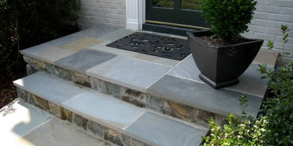 Flagstone steps and landing in North Arlington.
