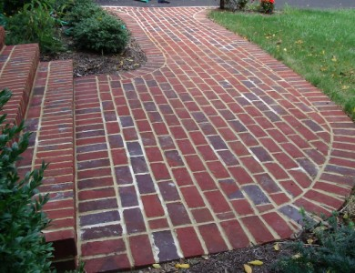 Brick sidewalk in Falls Church.