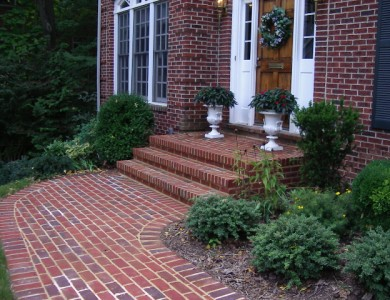 Brick sidewalk and steps in Falls Church.
