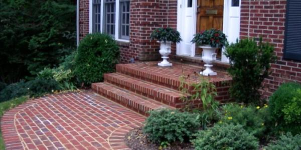 Brick sidewalk and steps in Falls Church.