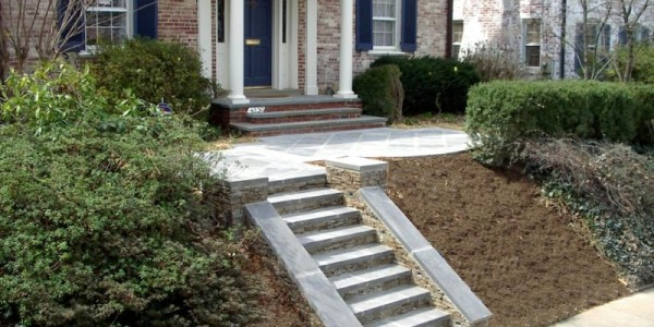 Flagstone steps and landing with fieldstone risers in N/W D.C.