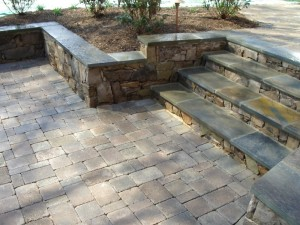 Flagstone steps with building stone risers in Falls Church, VA