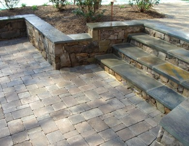 Flagstone steps with building stone risers in Falls Church.