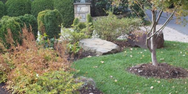 Stone boulder in landscape, Mclean