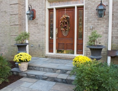 Flagstone steps with building stone risers in McLean