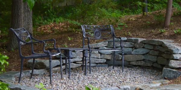 River stone patio and stone wall in McLean Virginia