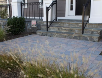 Paver Landing with Stone Steps in North Arlington