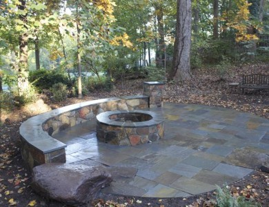 Stone Fire Pit with Flagstone Patio and Seating Wall, McLean VA