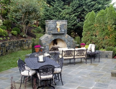 Flagstone Patio and Fireplace