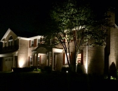 Professional landscape outdoor lighting using flood, up and down lighting techniques in McLean, VA