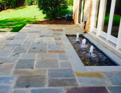 Water Feature Sprinkler – Flagstone Patio in McLean, VA