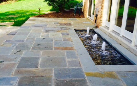 Professional flagstone patio with built-in water fountain feature, McLean, VA