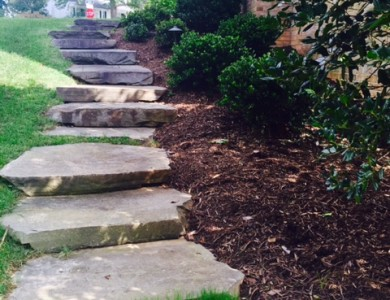Large flagstone pathway steps with landscape and lighting to a large patio in McLean, Va