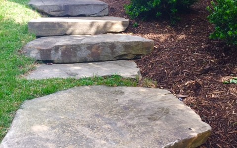 McLean, VA Large stone steps, pathway, landscape with lighting connecting to patio