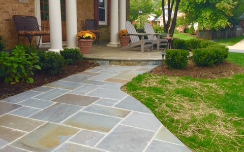 McLean, VA lighted and landscaped flagstone front walkway to circular patio