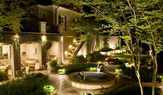 Outdoor landscape lighting for backyard, patio, steps, walkways and entrances