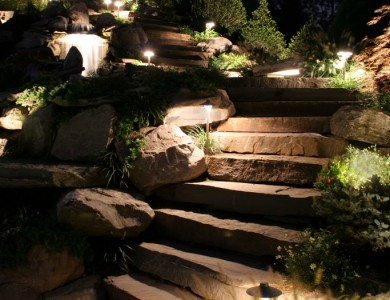 Night Walkway Landscape Design in Arlington, VA