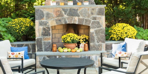 Landscaping Design and Installation in Arlington, VA – Outdoor Stone Fireplace and Patio