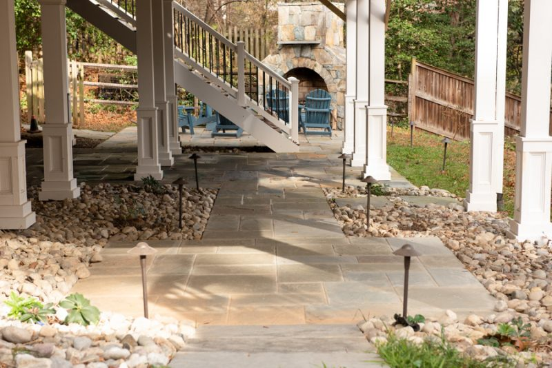 Flagstone Patio with Fireplace and lighting Northern Virginia