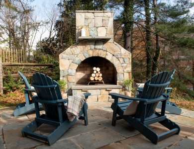 Outdoor Stone Fireplace in Vienna, VA
