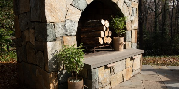 Gorgeous outdoor stone fireplace design in Vienna, VA