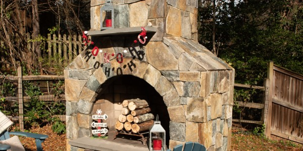 Outdoor Living Spaces with flagstone fireplace in Vienna, VA