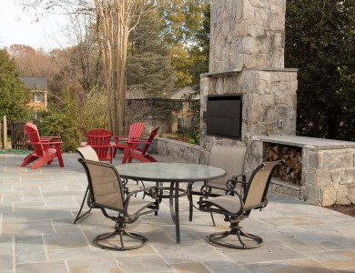 Patio and fireplace design in Vienna, VA