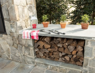 Outdoor Stone Fireplace with Firewood Storage Northern Virginia Landscaper