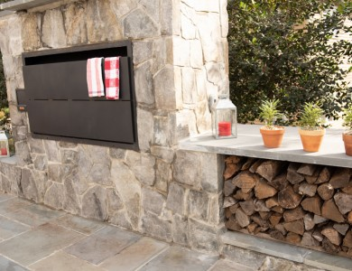 Hardscape Outdoor Stone Kitchen with Grill and Patio in Vienna, VA