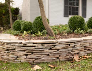 Landscaper in Vienna, VA Dry Stacked Stone Wall