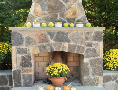 Professional Landscape Company in Arlington, VA Stone Fireplace and flagstone patio build