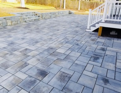 Techo-Bloc Patio with Retaining Wall in McLean, VA