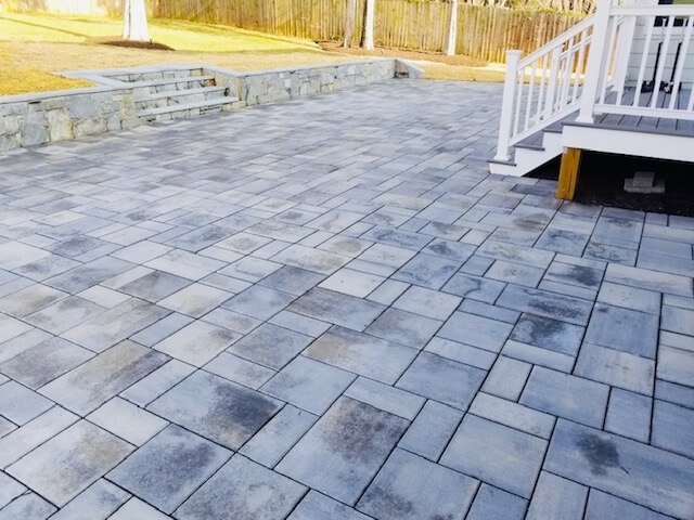 Hardscape Techo-Bloc Patio with retaining wall
