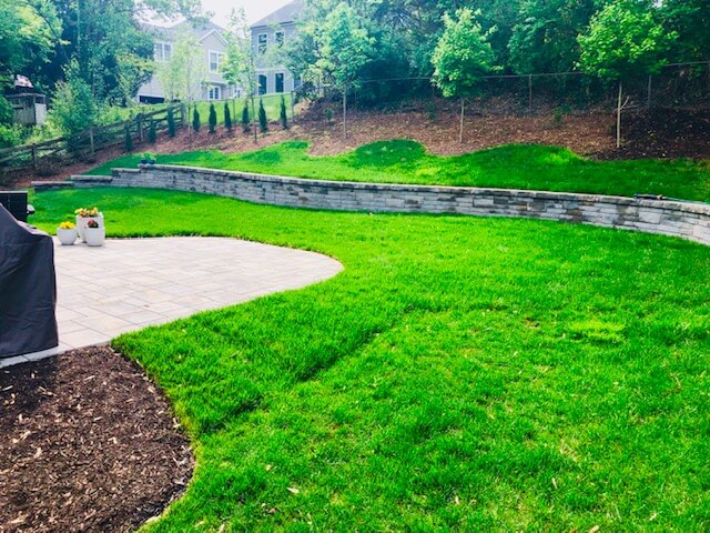 Permeable patio and retaining wall