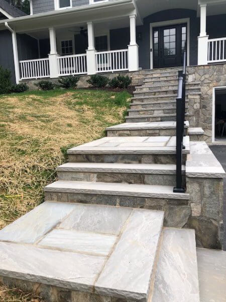 flagstone walkway and retaining wall