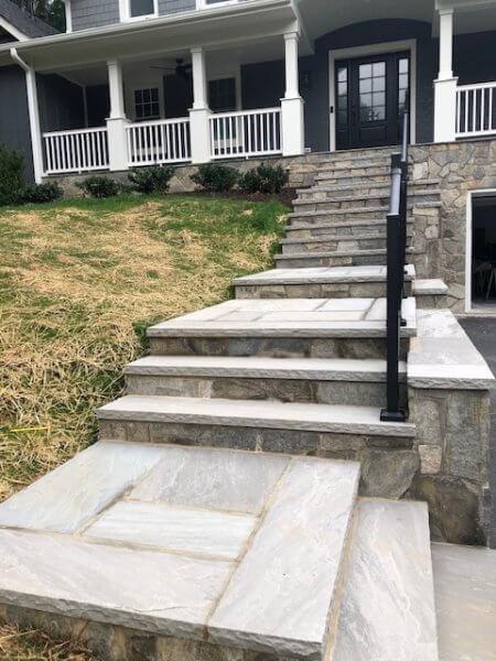 flagstone walkway and retaining wall