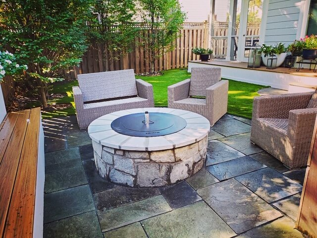 Flagstone patio and fire pit Northern VA