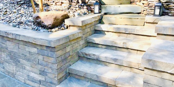 Flagstone Steps and Techo-bloc Wall Northern Virginia